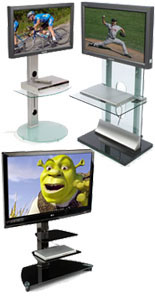 These tv stands for flat screens are used in homes as well as medical office waiting rooms.