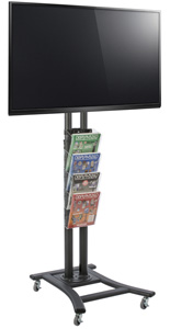 Black Plasma TV Stand with 4 Clear Literature Pockets for Retail Environments