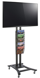 Black Plasma TV Stand with 5 Mesh Literature Pockets for Retail Stores