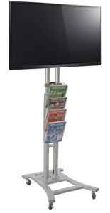 Silver Plasma TV Stand with 4 Clear Pockets for Trade Shows