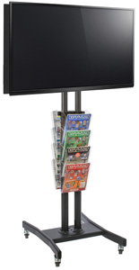 Double Sided TV Stand with 8 Clear Literature Pockets for Retail Environments