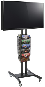 Double Sided TV Stand with 10 Mesh Literature Pockets forOffice Environments