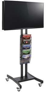 Double Sided TV Stand with 5 Mesh Literature Pockets for Trade Show Events