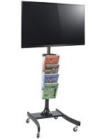 "LCD TV Stand with 4 Acrylic Literature Pockets for 32"" to 47"" Screens"