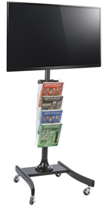 Modern LCD TV Stand with 4 Acrylic Literature Pockets