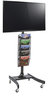 Powder Coated LCD TV Stand with 4 Acrylic Literature Pockets