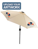 Beige Commercial Patio Umbrella with Personalized Graphics on Canopy