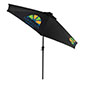 Custom  Restaurant Umbrella with Black Canopy and Personalized Graphics