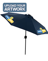 Navy Blue Business Umbrella with Rechargable Solar Panel