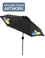 Black Cafe Umbrella with LED Lights and Custom Logo Printing