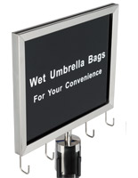 Wet umbrella silver stanchion sign holder with slide-in signage frame