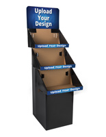 Black 3 Shelf Custom Printed Cardboard Floor Stand