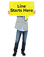 Three sixteenths inch thick life size standee with speech bubble