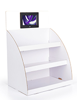 "Digital custom cardboard POP countertop display with 7"" screen"