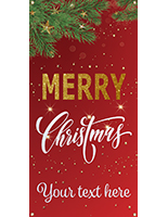 "2' x 4' ""Merry Christmas"" hanging business banner with red snowy design"