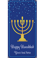 2' x 4' hanging holiday banner with menorah and personalized text