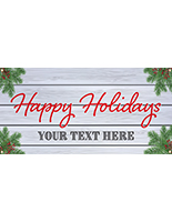 4' x 2' holiday hanging business banner with festive pre-printed message