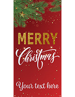 "3' x 6' ""Merry Christmas"" hanging business banner with pre-printed stock message"
