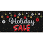 6' x 3' chalkboard holiday sale banner with indoor or outdoor placement