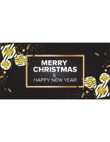 72 x 36 Black and gold holiday season banner