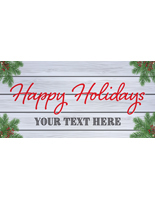 6' x 3' holiday hanging business banner with festive stock message