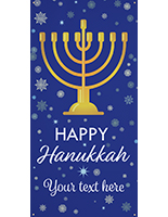 8' x 4' hanging vinyl hanukkah banner with blue background