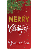 "4' x 8' ""Merry Christmas"" hanging business banner with custom text"