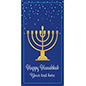 4' x 8' vinyl Hanukkah hanging banner with menorah graphic and personalized text