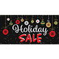 8' x 4' chalkboard holiday sale banner with festive artwork