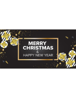 96 x 48 pre printed merry christmas happy new year banner w grommets black