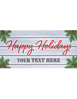 8' x 4' holiday hanging business banner with personalized text