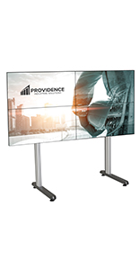 Multi-monitor video wall stand holds 4 televisions