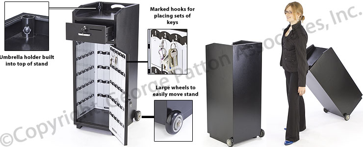 Black Valet Station Locking Drawer Amp Wheels 100 Key Hooks