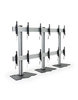 3x2 multi monitor floor stand with Metal Black Pedestal Base