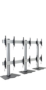 3x2 multi monitor floor stand with silver finish