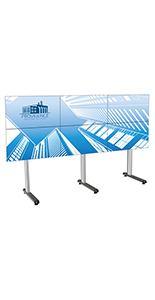 118.4 inch x 39.3 inch multi-tv video wall holds 6 monitors