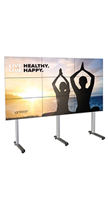 118.4 inch x 39.3 inch portable multi-monitor video wall holds 9 televisions