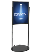 Black 22 x 28 Wheeled Poster Stand, Aluminum Frame