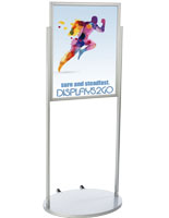 Silver 22 x 28 Wheeled Poster Stand with PVC Backer