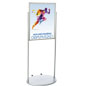Silver 22 x 28 Wheeled Poster Stand with Powder Coat Finish