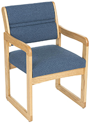 Padded waiting room office chair with oak frame