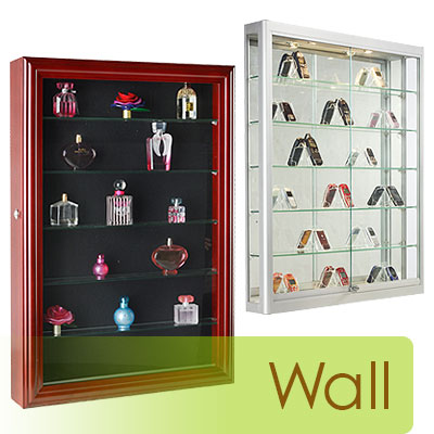 Wall mount cases with swing-open doors