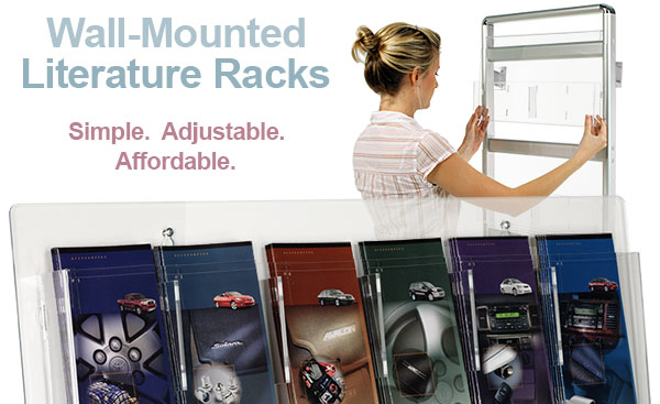 wall mountable brochure racks feature adjustable pockets