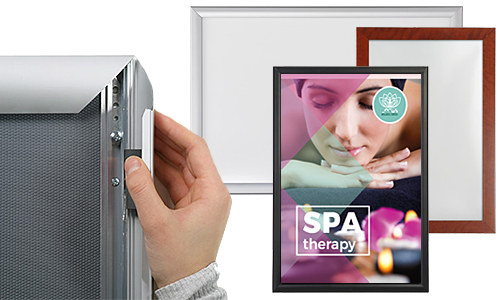 Group of wall mount poster frames with closeup of a snap-open frame