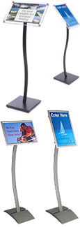 These wave stands are suitable for displaying dinner menus and other restaurant signage.