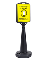 Mobile pickup traffic sign with durable plastic construction