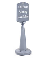 Gray Plastic Cone Pavement Sign with Vinyl Graphics