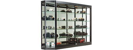 Display case wall mount with sliding doors