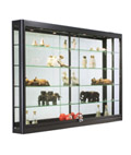 LED Wall Showcase Cabinet, Tempered Glass Shelves