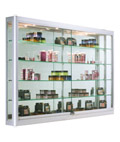 Wall Mounted Display Cabinet with LED Lights, Tempered Glass